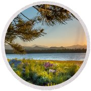 Frye Lake Flowers Round Beach Towel