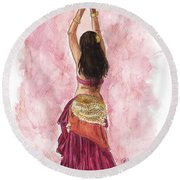 Fuchsia Round Beach Towel by Brandy Woods