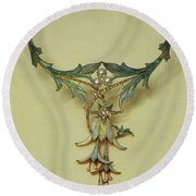 Fuchsia Necklace Alphonse Maria Mucha Round Beach Towel