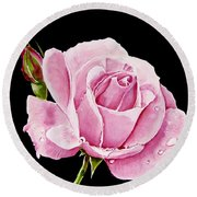 Fuchsia Rose Round Beach Towel