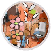 Fuddled Floral Round Beach Towel