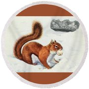 Fuertes, Louis Agassiz 1874-1927 - Burgess Animal Book For Children 1920 Red Squirrel Round Beach Towel