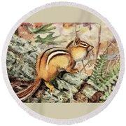 Fuertes, Louis Agassiz 1874-1927 - Burgess Animal Book For Children 1920 Striped Chipmunk Round Beach Towel
