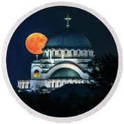 Full Blood Moon Over The Magnificent St. Sava Temple In Belgrade Round Beach Towel