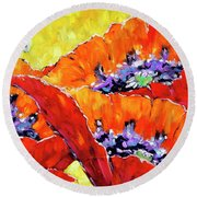 Full Bloom Poppies By Prankearts Fine Art Round Beach Towel