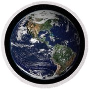 Full Earth Showing North And South Round Beach Towel