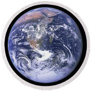 Full Earth Round Beach Towel by Stocktrek Images