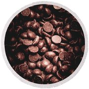 Full Frame Background Of Chocolate Chips Round Beach Towel