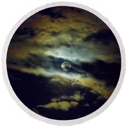 Full Moon And Clouds Round Beach Towel