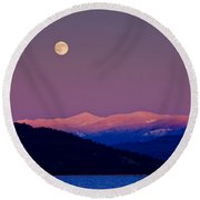 Full Moon At Sunset  -  091201a-3 Round Beach Towel