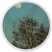 Full Moon At Sunset Round Beach Towel