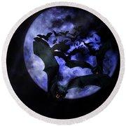 Full Moon Bats Round Beach Towel