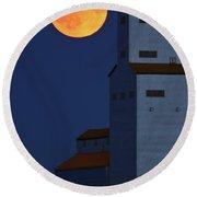 Full Moon Behind Tuxford Grain Elevator Round Beach Towel