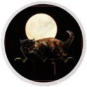 Full Moon Cat Round Beach Towel