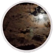 Full Moon Cloudy Night Round Beach Towel