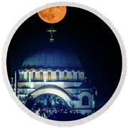 Full Moon Directly Over The Magnificent St. Sava Temple In Belgrade Round Beach Towel