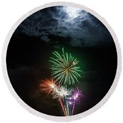 Full Moon Fireworks Round Beach Towel