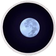 Full Moon In Blue Round Beach Towel