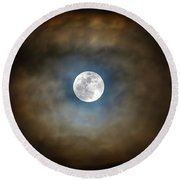 Full Moon In The Clouds Round Beach Towel