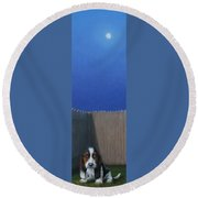 Full Moon Round Beach Towel by James W Johnson