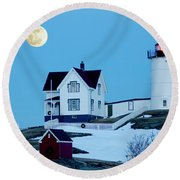 Full Moon Nubble Round Beach Towel