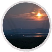 Full Moon Over Acadia I Round Beach Towel