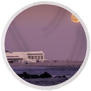 Full Moon Over Cape May Round Beach Towel
