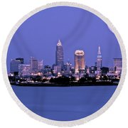 Full Moon Over Cleveland Round Beach Towel
