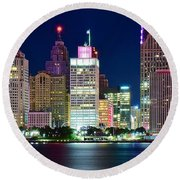 Full Moon Over Detroit Round Beach Towel