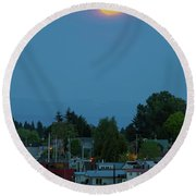 Full Moon Over Floating Homes On Columbia River Round Beach Towel