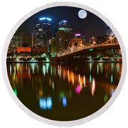 Full Moon Over Pittsburgh Round Beach Towel