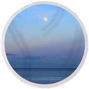 Full Moon Over The Atlantic Ocean In Rye, New Hampshire Round Beach Towel