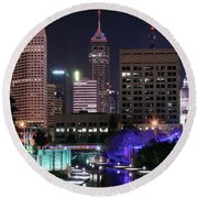 Full Moon Over The Canal Round Beach Towel