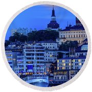 Full Moon Over The Katarina Church And Sodermalm In Stockholm Round Beach Towel