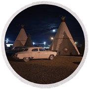 Full Moon Over Wigwam Motel Round Beach Towel