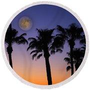 Full Moon Palm Tree Sunset Round Beach Towel