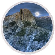Full Moon Rising Behind Half Dome Round Beach Towel