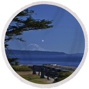 Full Moon Rising Round Beach Towel