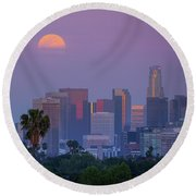 Full Moon Rising Over Downtown Los Angeles Skyline Round Beach Towel