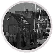 Full Moon Rising Over Motif  Number 1 Rockport Ma Black And White Round Beach Towel