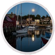 Full Moon Rising Over Motif  Number 1 Rockport Ma Moonrise Round Beach Towel