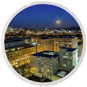 Full Moon Rising Over Portland Downtown Round Beach Towel