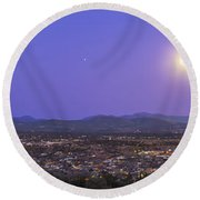 Full Moon Rising Over Silver City, New Round Beach Towel