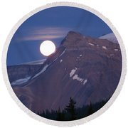 Full Moon Over The Rockies Round Beach Towel