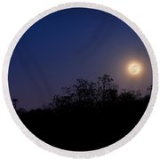 Full Moon Rising Over Trees Round Beach Towel