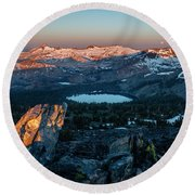 Full Moon Set Over Desolation Wilderness Round Beach Towel