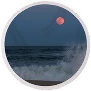 Full Moon Splash Seaside Nj Round Beach Towel