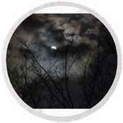 Full Moon With Clouds Round Beach Towel