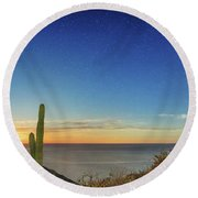 Full Moon With Shooting Star Round Beach Towel