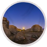 Full Moonrise At City Of Rocks State Round Beach Towel